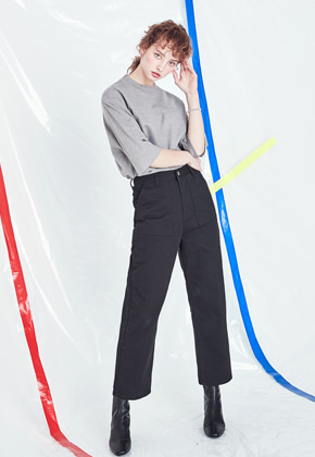 Voiebit브아빗 V225 COTTON HIGH WEST PANTS  BLACK