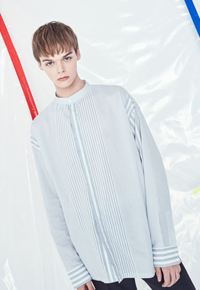 Voiebit브아빗 V422 UNBAL STRIPE OVER FIT SHIRT  GRAY