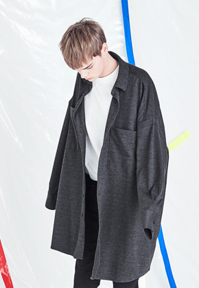 Voiebit브아빗 V423 SMOOTH OVERSIZE LONG SHIRT  CHARCOAL