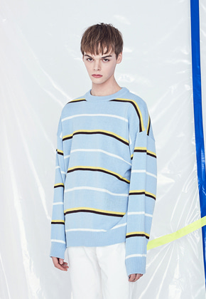 Voiebit브아빗 V530 THIN STRIPE KNIT  SKYBLUE