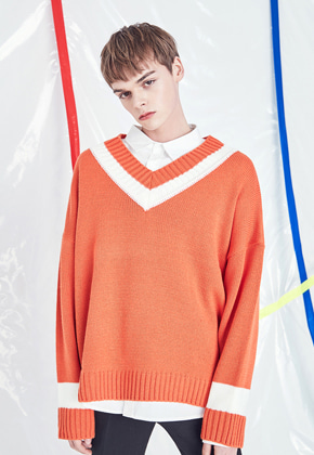 Voiebit브아빗 V531 DOUBLE V-NECK KNIT  ORANGE