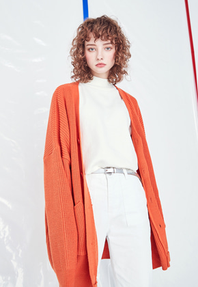 Voiebit브아빗 [정세운 착용]V533 WAFFLE HALF-LONG KNIT CARDIGAN  ORANGE