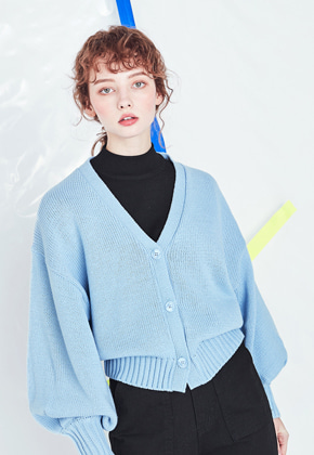 Voiebit브아빗 V534 BALLOON KNIT CARDIGAN  SKYBLUE