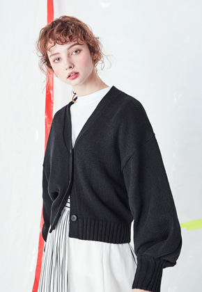 Voiebit브아빗 V534 BALLOON KNIT CARDIGAN  BLACK