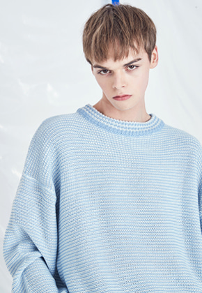 Voiebit브아빗 V535 MARINE STRIPE KNIT  SKYBLUE
