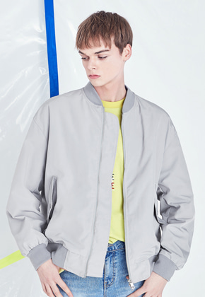 Voiebit브아빗 V620 SIMPLE OVERSIZE MA-1 JACKET  LIGHT GRAY
