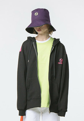 HANAH하나 COLOR BLOCK HOOD ZIP-UP(BLACK)