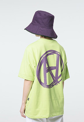 HANAH하나 HAND DRAWING LOGO T-SHIRT(LIME)