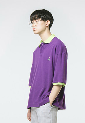 HANAH하나 COLOR COMBINATION PIQUE SHIRT(PURPLE)