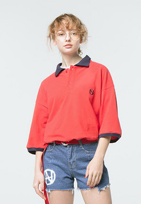 HANAH하나 COLOR COMBINATION PIQUE SHIRT(RED)