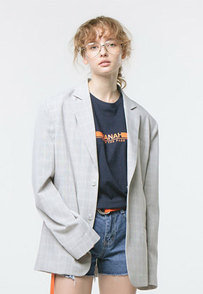HANAH하나 TURN THE PAGE T-SHIRT(NAVY+ORANGE)