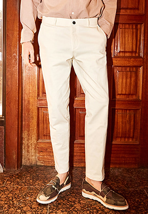 Yan13얀써틴 TWILL COTTON STRAIGHT PANTS_IVORY