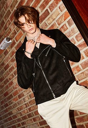 Yan13얀써틴 BLACK LABEL SUEDE RIDER_BLACK