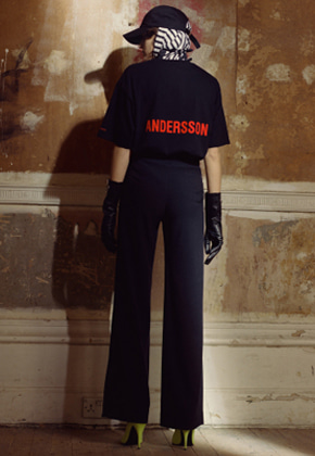 Anderssonbell앤더슨벨 SADIE SLIT WIDE LEGGED TROUSER apa222w BLACK