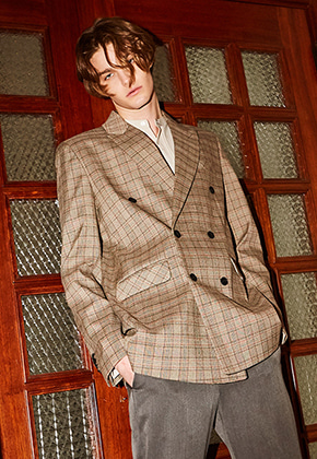 Yan13얀써틴 BLACK LABEL CLASSIC CHECK JACKET_BROWN