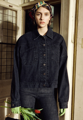 Anderssonbell앤더슨벨 KARIN OVERSIZED DENIM SHORT JACKET awa134w BLACK
