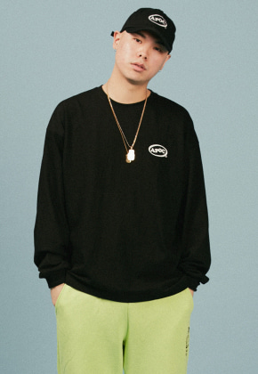 A Piece Of Cake어피스오브케이크 Oval Logo Longsleeved T-shirts_Black