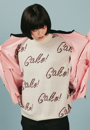 A Piece Of Cake어피스오브케이크 Cake Lettering knit_Ivory