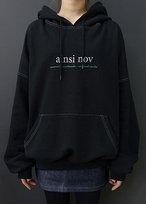 Ainsinov앙시노브 STITCH POINT HOOD (BLACK)