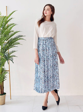 Mintaretro민타레트로 SkyLily Long Pleats Skirt