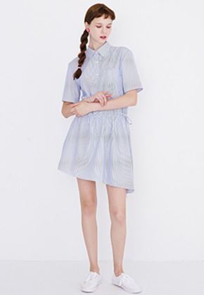 Margarin Fingers마가린핑거스 RUFFLE SHIRT ONE PIECE (BLUE STRIPE)