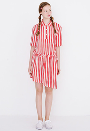 Margarin Fingers마가린핑거스 RUFFLE SHIRT ONE PIECE (RED)