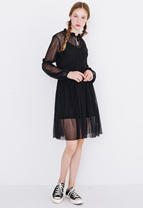 Margarin Fingers마가린핑거스 MESH LAYERED ONE PIECE (BLACK)
