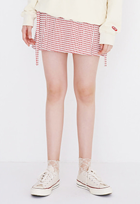 Margarin Fingers마가린핑거스 [안지영 착용] MINI SQUARE SKIRT (RED)