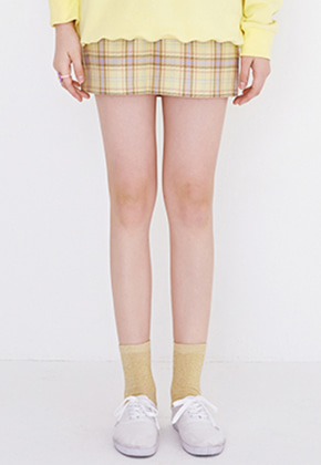 Margarin Fingers마가린핑거스 CHECK MINI SKIRT(LEMON)