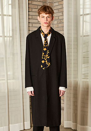 Yan13얀써틴 SOLID LINE LONG COAT_BLACK
