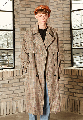 Yan13얀써틴 OVERSIZED CHECK TRENCH COAT_CHECK BROWN