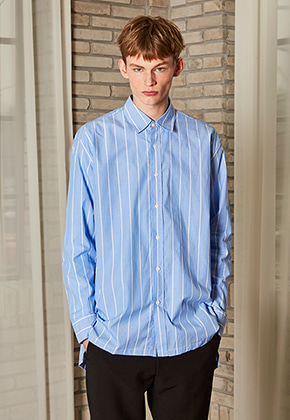 Yan13얀써틴 FROM OVERSIZE STRIPE SHIRTS_BLUE
