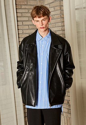Yan13얀써틴 DROP OVERSIZE LEATHER JACKET_BLACK