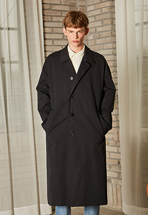 Yan13얀써틴 DROP OVERSIZED TRENCH COAT_BLACK