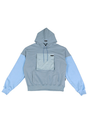 AJO BY AJO아조바이아조 Mixed Color Pocket Hood (Sky Blue)