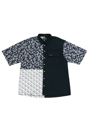 AJO BY AJO아조바이아조 Paisley Half Sleeve Shirt (Navy)