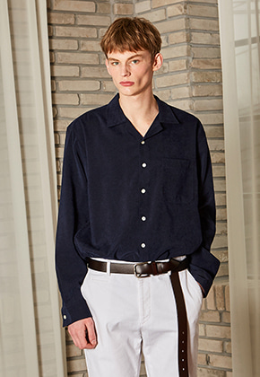 Yan13얀써틴 FOMAL OPEN COLLAR SHIRTS_NAVY