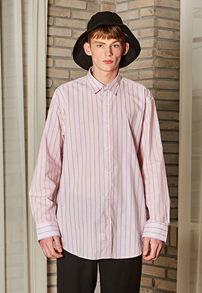 Yan13얀써틴 MANNISH OVERFIT STRIPE SHIRTS_PINK