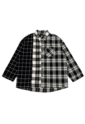 AJO BY AJO아조바이아조 Over Check Mixed Shirt [Black]