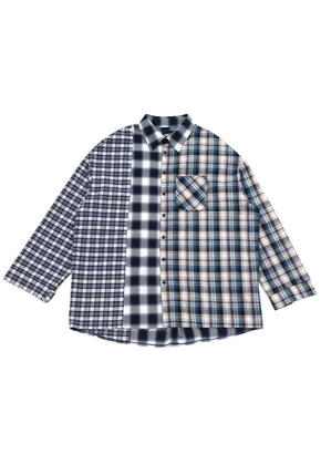 AJO BY AJO아조바이아조 Over Check Mixed Shirt [Blue]