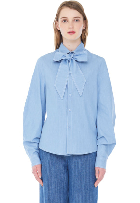 Millogrem밀로그램 [정채연 착용]  Denim Ribbon Shirts_Light Blue