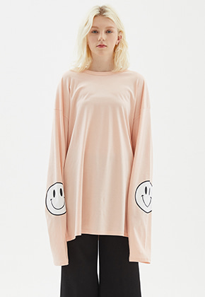 INDIGO CHILDREN인디고칠드런 OVERSIZED SMILE LONG SLEEVE	[LIGHT PINK]