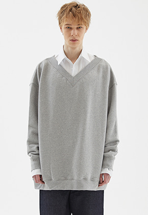INDIGO CHILDREN인디고칠드런 OVERSIZED DEEP V-NECK MTM [GREY]