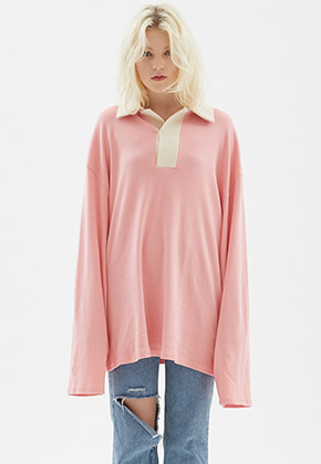 INDIGO CHILDREN인디고칠드런 OVERSIZED RUGBY SHIRT [PINK]