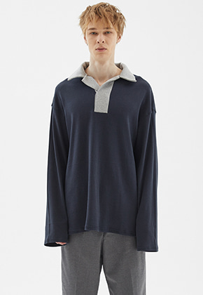 INDIGO CHILDREN인디고칠드런 OVERSIZED RUGBY SHIRT [NAVY]