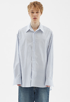 INDIGO CHILDREN인디고칠드런 OVERSIZED STRIPE TAIL SHIRT [BLUE]