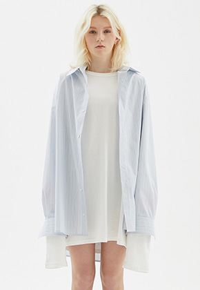 INDIGO CHILDREN인디고칠드런 OVERSIZED STRIPE TAIL SHIRT [MULTI]