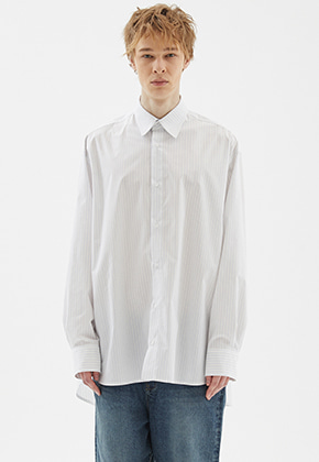 INDIGO CHILDREN인디고칠드런 OVERSIZED STRIPE TAIL SHIRT [OFF WHITE]
