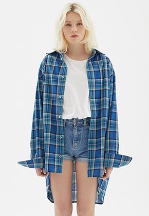 INDIGO CHILDREN인디고칠드런 OVERSIZED PLAID CHECK TAIL SHIRT [BLUE]