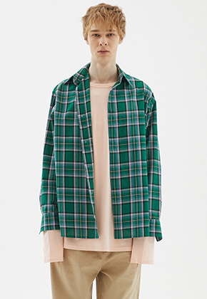 INDIGO CHILDREN인디고칠드런 OVERSIZED PLAID CHECK TAIL SHIRT [GREEN]